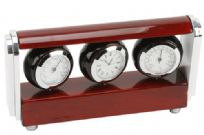 Red Wooden Effect Clock Thermometer & Hydrometer With Engraving Plate